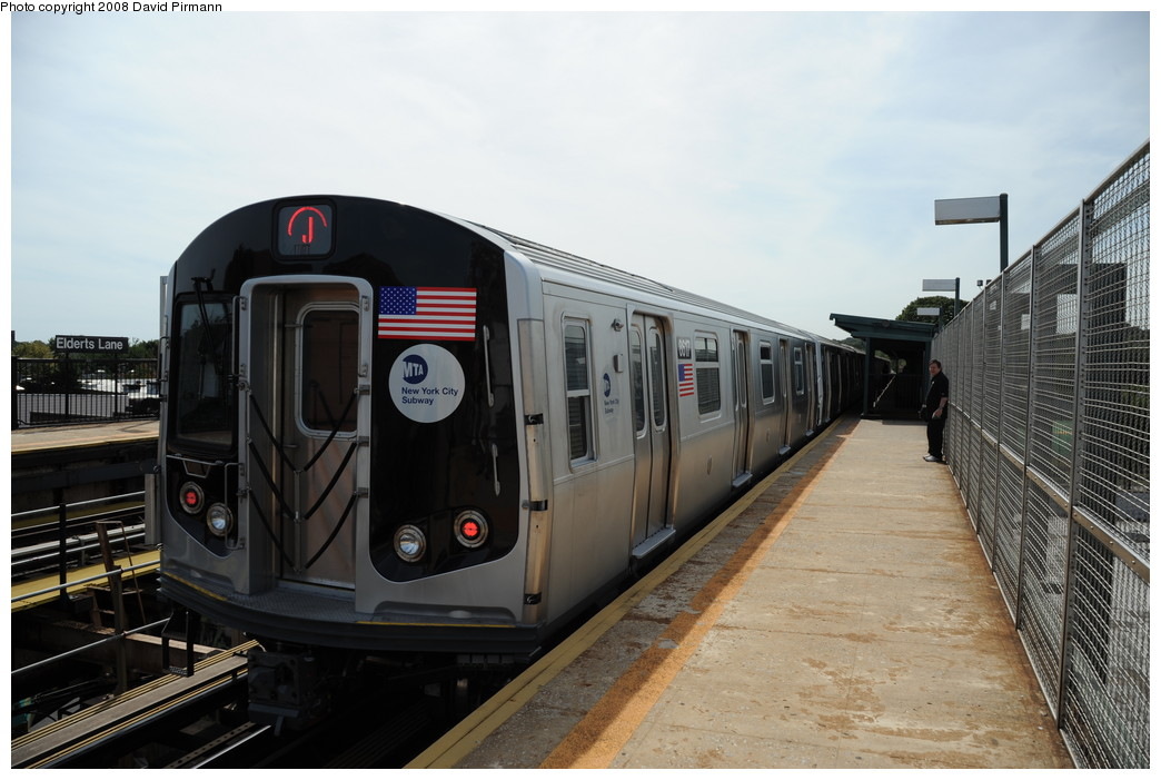 (235k, 1044x701)<br><b>Country:</b> United States<br><b>City:</b> New York<br><b>System:</b> New York City Transit<br><b>Line:</b> BMT Nassau Street/Jamaica Line<br><b>Location:</b> 75th Street/Elderts Lane <br><b>Route:</b> J<br><b>Car:</b> R-160A-1 (Alstom, 2005-2008, 4 car sets)  8617 <br><b>Photo by:</b> David Pirmann<br><b>Date:</b> 8/27/2008<br><b>Viewed (this week/total):</b> 0 / 1047