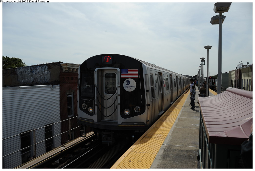 (212k, 1044x701)<br><b>Country:</b> United States<br><b>City:</b> New York<br><b>System:</b> New York City Transit<br><b>Line:</b> BMT Nassau Street/Jamaica Line<br><b>Location:</b> Cleveland Street <br><b>Route:</b> J<br><b>Car:</b> R-160A-1 (Alstom, 2005-2008, 4 car sets)  8481 <br><b>Photo by:</b> David Pirmann<br><b>Date:</b> 8/27/2008<br><b>Viewed (this week/total):</b> 0 / 1062