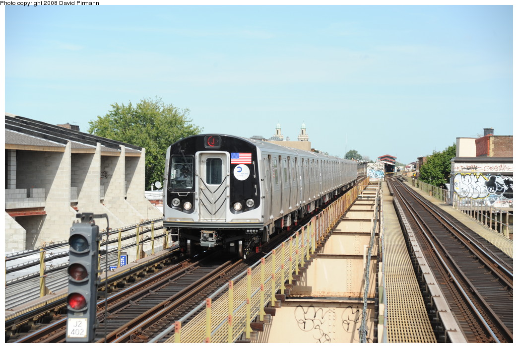 (278k, 1044x701)<br><b>Country:</b> United States<br><b>City:</b> New York<br><b>System:</b> New York City Transit<br><b>Line:</b> BMT Nassau Street/Jamaica Line<br><b>Location:</b> Cleveland Street <br><b>Route:</b> J<br><b>Car:</b> R-160A-1 (Alstom, 2005-2008, 4 car sets)  8529 <br><b>Photo by:</b> David Pirmann<br><b>Date:</b> 8/27/2008<br><b>Viewed (this week/total):</b> 0 / 1053