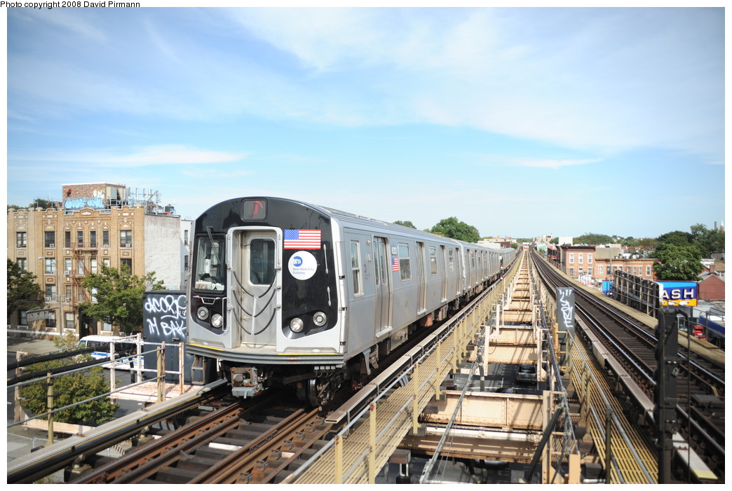 (272k, 1044x701)<br><b>Country:</b> United States<br><b>City:</b> New York<br><b>System:</b> New York City Transit<br><b>Line:</b> BMT Nassau Street/Jamaica Line<br><b>Location:</b> Alabama Avenue <br><b>Route:</b> J<br><b>Car:</b> R-160A-1 (Alstom, 2005-2008, 4 car sets)  8313 <br><b>Photo by:</b> David Pirmann<br><b>Date:</b> 8/27/2008<br><b>Viewed (this week/total):</b> 1 / 2352