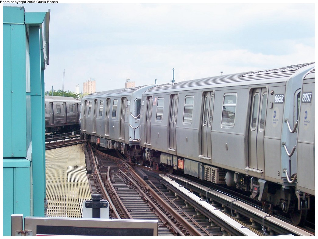 (207k, 1044x783)<br><b>Country:</b> United States<br><b>City:</b> New York<br><b>System:</b> New York City Transit<br><b>Location:</b> Coney Island/Stillwell Avenue<br><b>Route:</b> N<br><b>Car:</b> R-160A-2 (Alstom, 2005-2008, 5 car sets)  8656 <br><b>Photo by:</b> Curtis Roach<br><b>Date:</b> 8/8/2008<br><b>Viewed (this week/total):</b> 1 / 991