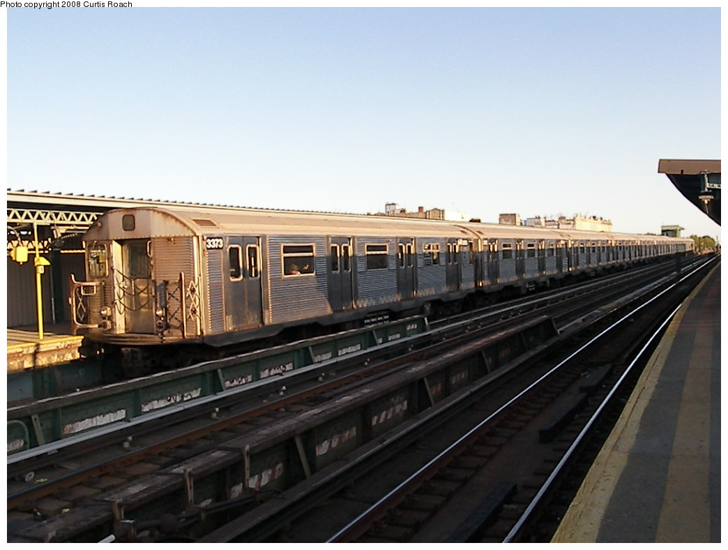 (181k, 1044x788)<br><b>Country:</b> United States<br><b>City:</b> New York<br><b>System:</b> New York City Transit<br><b>Line:</b> BMT Culver Line<br><b>Location:</b> Ditmas Avenue <br><b>Route:</b> F<br><b>Car:</b> R-32 (Budd, 1964)  3373 <br><b>Photo by:</b> Curtis Roach<br><b>Date:</b> 8/22/2008<br><b>Viewed (this week/total):</b> 2 / 1133