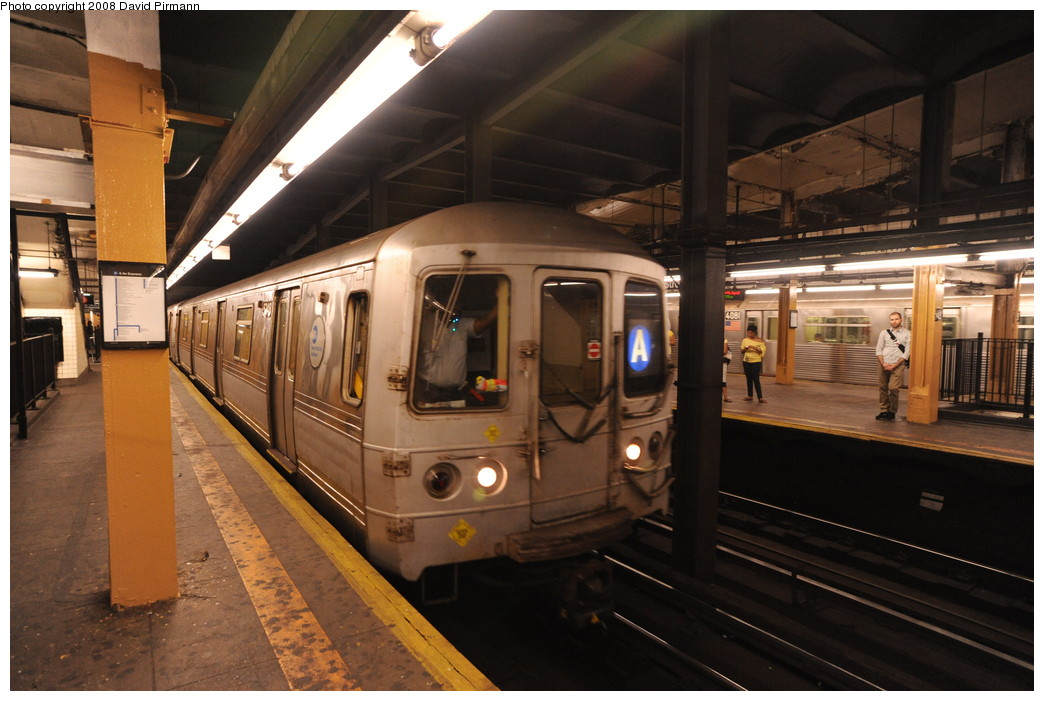 (246k, 1044x701)<br><b>Country:</b> United States<br><b>City:</b> New York<br><b>System:</b> New York City Transit<br><b>Line:</b> IND 8th Avenue Line<br><b>Location:</b> 145th Street <br><b>Route:</b> A<br><b>Car:</b> R-44 (St. Louis, 1971-73) 5348 <br><b>Photo by:</b> David Pirmann<br><b>Date:</b> 8/27/2008<br><b>Viewed (this week/total):</b> 2 / 1273