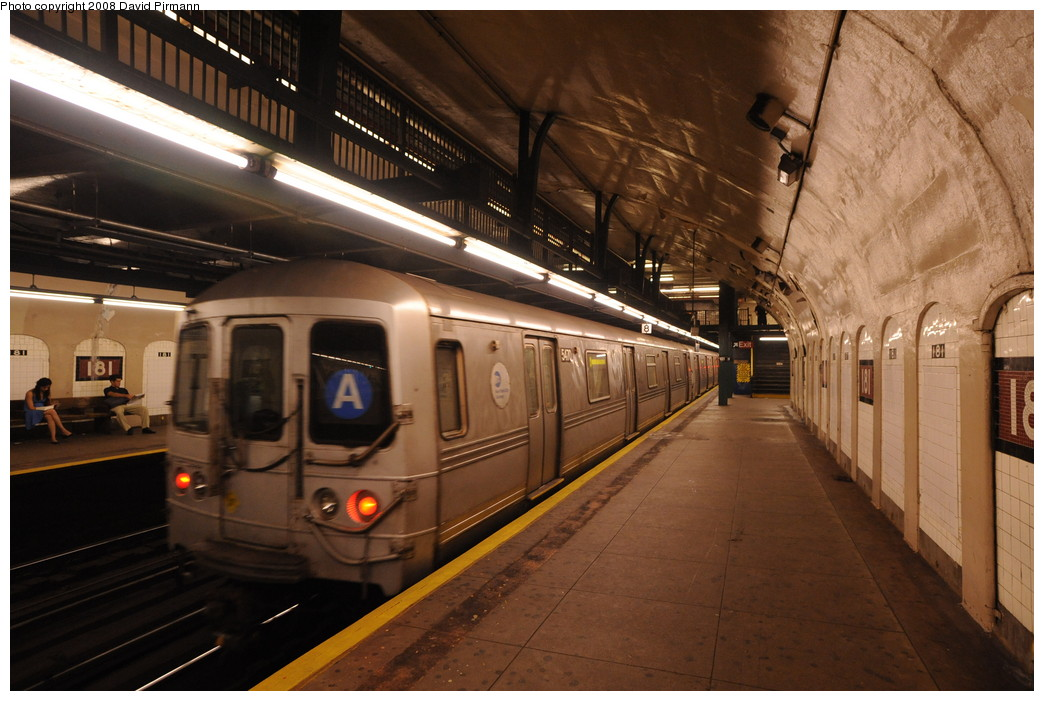 (257k, 1044x701)<br><b>Country:</b> United States<br><b>City:</b> New York<br><b>System:</b> New York City Transit<br><b>Line:</b> IND 8th Avenue Line<br><b>Location:</b> 181st Street <br><b>Route:</b> A<br><b>Car:</b> R-44 (St. Louis, 1971-73) 5470 <br><b>Photo by:</b> David Pirmann<br><b>Date:</b> 8/27/2008<br><b>Viewed (this week/total):</b> 7 / 1211