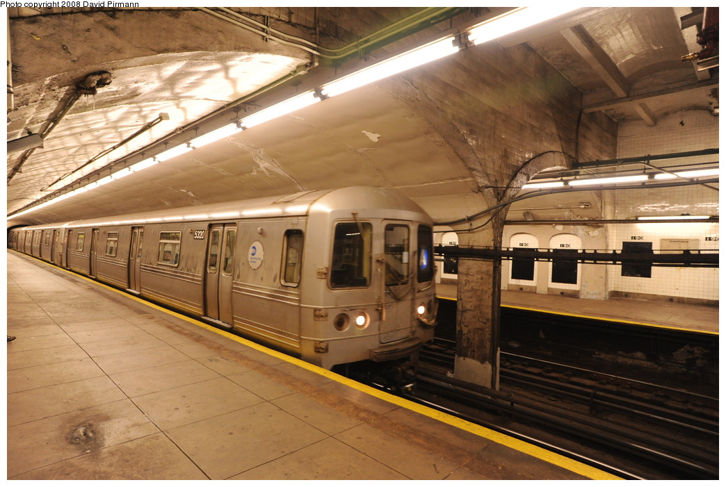 (274k, 1044x701)<br><b>Country:</b> United States<br><b>City:</b> New York<br><b>System:</b> New York City Transit<br><b>Line:</b> IND 8th Avenue Line<br><b>Location:</b> 190th Street/Overlook Terrace <br><b>Route:</b> A<br><b>Car:</b> R-44 (St. Louis, 1971-73) 5320 <br><b>Photo by:</b> David Pirmann<br><b>Date:</b> 8/27/2008<br><b>Viewed (this week/total):</b> 4 / 696