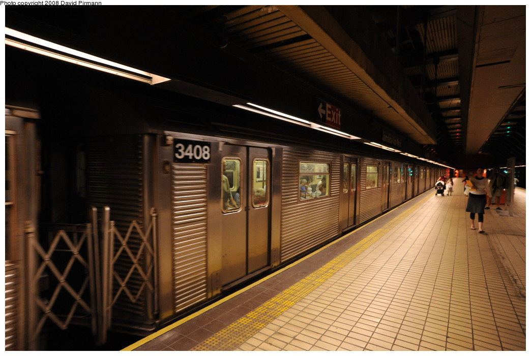 (250k, 1044x701)<br><b>Country:</b> United States<br><b>City:</b> New York<br><b>System:</b> New York City Transit<br><b>Line:</b> IND Queens Boulevard Line<br><b>Location:</b> Jamaica/Van Wyck <br><b>Route:</b> E<br><b>Car:</b> R-32 (Budd, 1964)  3408 <br><b>Photo by:</b> David Pirmann<br><b>Date:</b> 8/27/2008<br><b>Viewed (this week/total):</b> 0 / 675