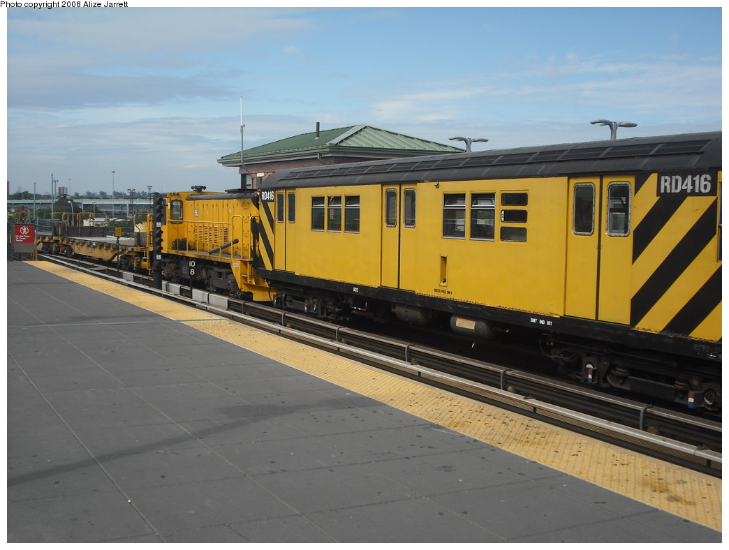 (179k, 1044x788)<br><b>Country:</b> United States<br><b>City:</b> New York<br><b>System:</b> New York City Transit<br><b>Location:</b> Coney Island/Stillwell Avenue<br><b>Route:</b> Work Service<br><b>Car:</b> R-161 Rider Car (ex-R-33)  RD416 (ex-8964)<br><b>Photo by:</b> Alize Jarrett<br><b>Date:</b> 8/29/2008<br><b>Notes:</b> With loco 883.<br><b>Viewed (this week/total):</b> 4 / 1406