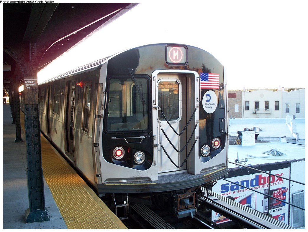 (223k, 1044x788)<br><b>Country:</b> United States<br><b>City:</b> New York<br><b>System:</b> New York City Transit<br><b>Line:</b> BMT Myrtle Avenue Line<br><b>Location:</b> Wyckoff Avenue <br><b>Route:</b> M<br><b>Car:</b> R-160A-1 (Alstom, 2005-2008, 4 car sets)  8333 <br><b>Photo by:</b> Chris Reidy<br><b>Date:</b> 8/26/2008<br><b>Viewed (this week/total):</b> 1 / 1162