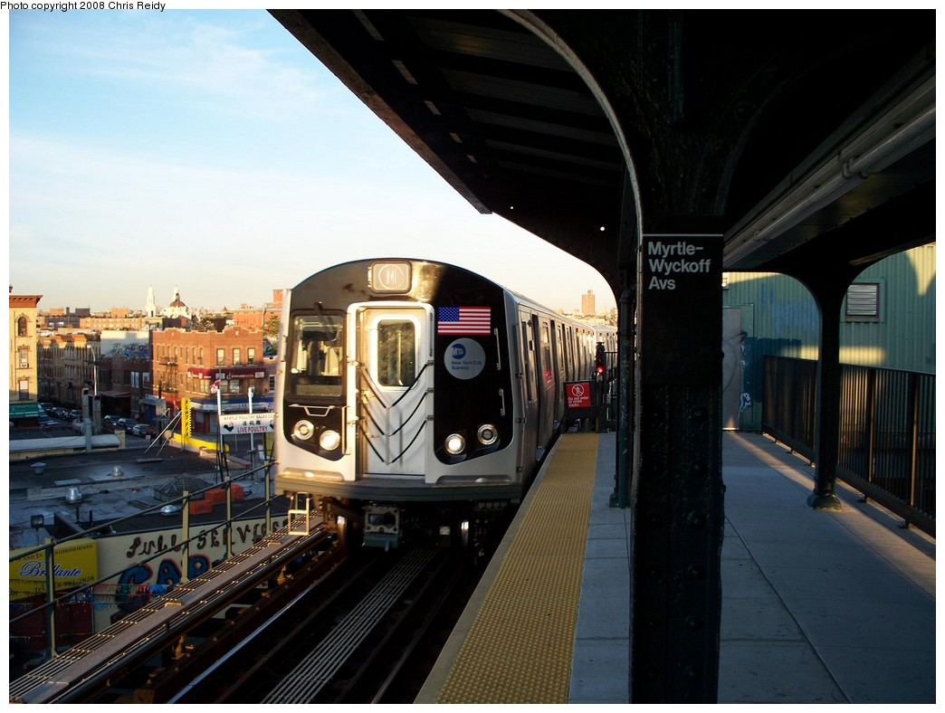 (198k, 1044x788)<br><b>Country:</b> United States<br><b>City:</b> New York<br><b>System:</b> New York City Transit<br><b>Line:</b> BMT Myrtle Avenue Line<br><b>Location:</b> Wyckoff Avenue <br><b>Route:</b> M<br><b>Car:</b> R-160A-1 (Alstom, 2005-2008, 4 car sets)  8457 <br><b>Photo by:</b> Chris Reidy<br><b>Date:</b> 8/26/2008<br><b>Viewed (this week/total):</b> 0 / 1553