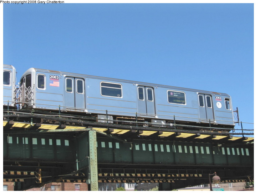 (114k, 820x620)<br><b>Country:</b> United States<br><b>City:</b> New York<br><b>System:</b> New York City Transit<br><b>Line:</b> IRT Flushing Line<br><b>Location:</b> 82nd Street/Jackson Heights <br><b>Route:</b> 7<br><b>Car:</b> R-62A (Bombardier, 1984-1987)  2063 <br><b>Photo by:</b> Gary Chatterton<br><b>Date:</b> 8/31/2008<br><b>Viewed (this week/total):</b> 2 / 753