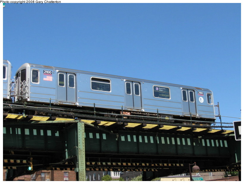 (115k, 820x620)<br><b>Country:</b> United States<br><b>City:</b> New York<br><b>System:</b> New York City Transit<br><b>Line:</b> IRT Flushing Line<br><b>Location:</b> 82nd Street/Jackson Heights <br><b>Route:</b> 7<br><b>Car:</b> R-62A (Bombardier, 1984-1987)  2100 <br><b>Photo by:</b> Gary Chatterton<br><b>Date:</b> 8/31/2008<br><b>Viewed (this week/total):</b> 0 / 775