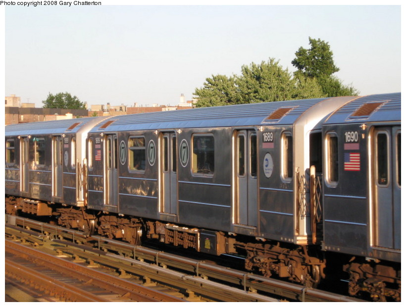 (138k, 820x620)<br><b>Country:</b> United States<br><b>City:</b> New York<br><b>System:</b> New York City Transit<br><b>Line:</b> IRT Flushing Line<br><b>Location:</b> 82nd Street/Jackson Heights <br><b>Route:</b> 7<br><b>Car:</b> R-62A (Bombardier, 1984-1987)  1689 <br><b>Photo by:</b> Gary Chatterton<br><b>Date:</b> 8/31/2008<br><b>Viewed (this week/total):</b> 2 / 673
