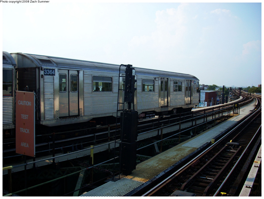 (232k, 1044x788)<br><b>Country:</b> United States<br><b>City:</b> New York<br><b>System:</b> New York City Transit<br><b>Line:</b> BMT Culver Line<br><b>Location:</b> Kings Highway <br><b>Route:</b> F<br><b>Car:</b> R-32 (Budd, 1964)  3364 <br><b>Photo by:</b> Zach Summer<br><b>Date:</b> 7/20/2008<br><b>Viewed (this week/total):</b> 1 / 1318