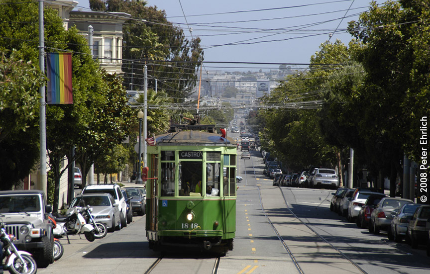 (237k, 864x551)<br><b>Country:</b> United States<br><b>City:</b> San Francisco/Bay Area, CA<br><b>System:</b> SF MUNI<br><b>Location:</b> Market/17th/Castro <br><b>Car:</b> Milan Milano/Peter Witt (1927-1930)  1818 <br><b>Photo by:</b> Peter Ehrlich<br><b>Date:</b> 8/30/2008<br><b>Notes:</b> Approaching 17th Street/Castro Terminal.<br><b>Viewed (this week/total):</b> 1 / 335
