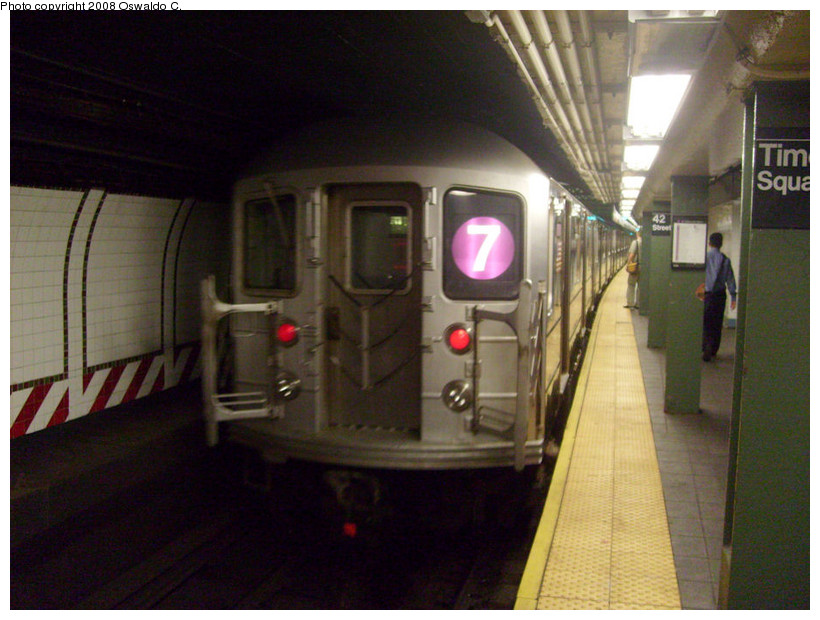 (169k, 820x620)<br><b>Country:</b> United States<br><b>City:</b> New York<br><b>System:</b> New York City Transit<br><b>Line:</b> IRT Flushing Line<br><b>Location:</b> Times Square <br><b>Route:</b> 7<br><b>Car:</b> R-62A (Bombardier, 1984-1987)   <br><b>Photo by:</b> Oswaldo C.<br><b>Date:</b> 9/3/2008<br><b>Viewed (this week/total):</b> 6 / 1147