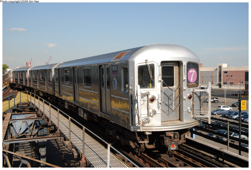 (243k, 1044x705)<br><b>Country:</b> United States<br><b>City:</b> New York<br><b>System:</b> New York City Transit<br><b>Line:</b> IRT Flushing Line<br><b>Location:</b> Willets Point/Mets (fmr. Shea Stadium) <br><b>Route:</b> 7<br><b>Car:</b> R-62A (Bombardier, 1984-1987)  1656 <br><b>Photo by:</b> Gin Yee<br><b>Date:</b> 9/8/2008<br><b>Viewed (this week/total):</b> 0 / 668