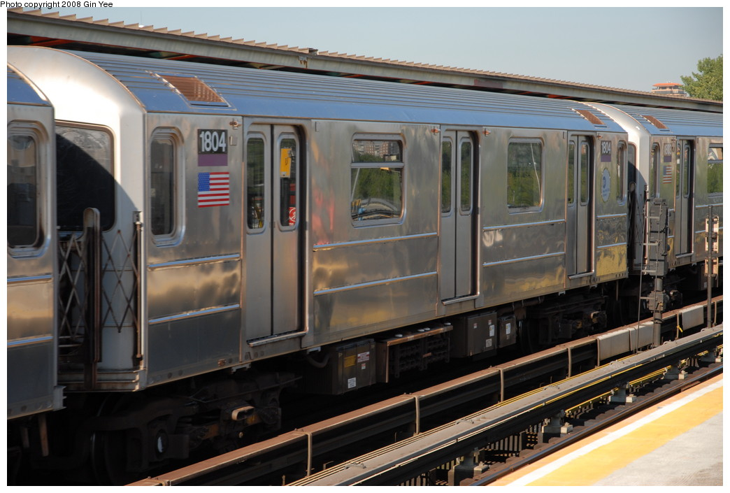 (218k, 1044x705)<br><b>Country:</b> United States<br><b>City:</b> New York<br><b>System:</b> New York City Transit<br><b>Line:</b> IRT Flushing Line<br><b>Location:</b> Willets Point/Mets (fmr. Shea Stadium) <br><b>Route:</b> 7<br><b>Car:</b> R-62A (Bombardier, 1984-1987)  1804 <br><b>Photo by:</b> Gin Yee<br><b>Date:</b> 9/8/2008<br><b>Viewed (this week/total):</b> 1 / 711