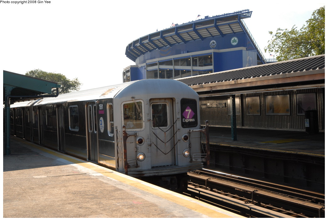 (223k, 1044x705)<br><b>Country:</b> United States<br><b>City:</b> New York<br><b>System:</b> New York City Transit<br><b>Line:</b> IRT Flushing Line<br><b>Location:</b> Willets Point/Mets (fmr. Shea Stadium) <br><b>Route:</b> 7<br><b>Car:</b> R-62A (Bombardier, 1984-1987)  1991 <br><b>Photo by:</b> Gin Yee<br><b>Date:</b> 9/8/2008<br><b>Viewed (this week/total):</b> 2 / 905
