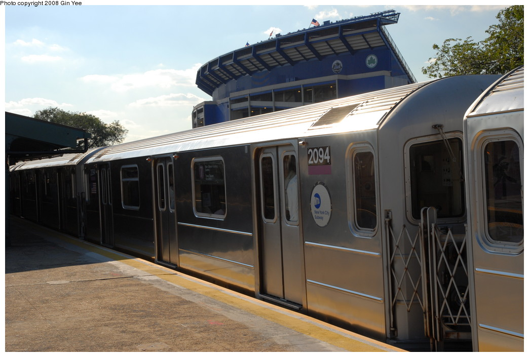 (209k, 1044x705)<br><b>Country:</b> United States<br><b>City:</b> New York<br><b>System:</b> New York City Transit<br><b>Line:</b> IRT Flushing Line<br><b>Location:</b> Willets Point/Mets (fmr. Shea Stadium) <br><b>Route:</b> 7<br><b>Car:</b> R-62A (Bombardier, 1984-1987)  2094 <br><b>Photo by:</b> Gin Yee<br><b>Date:</b> 9/8/2008<br><b>Viewed (this week/total):</b> 2 / 544