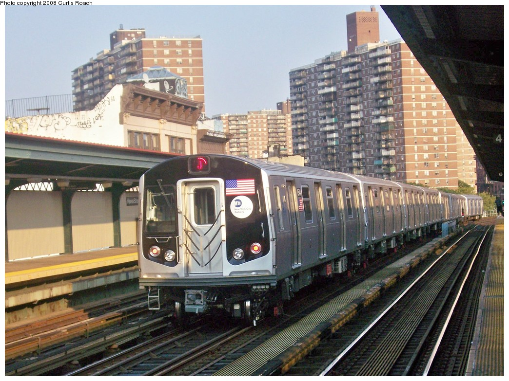 (262k, 1044x783)<br><b>Country:</b> United States<br><b>City:</b> New York<br><b>System:</b> New York City Transit<br><b>Line:</b> BMT Nassau Street/Jamaica Line<br><b>Location:</b> Hewes Street <br><b>Route:</b> J<br><b>Car:</b> R-160A-1 (Alstom, 2005-2008, 4 car sets)  8544 <br><b>Photo by:</b> Curtis Roach<br><b>Date:</b> 9/4/2008<br><b>Viewed (this week/total):</b> 0 / 1651