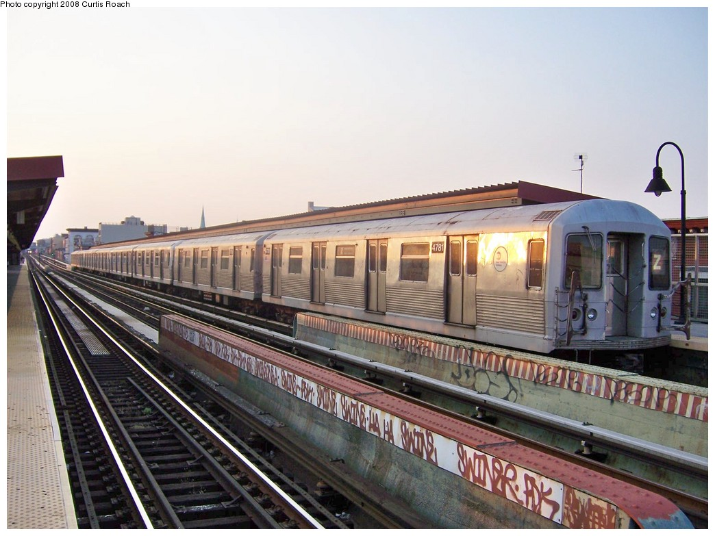 (212k, 1044x783)<br><b>Country:</b> United States<br><b>City:</b> New York<br><b>System:</b> New York City Transit<br><b>Line:</b> BMT Nassau Street/Jamaica Line<br><b>Location:</b> Kosciuszko Street <br><b>Route:</b> Z<br><b>Car:</b> R-42 (St. Louis, 1969-1970)  4781 <br><b>Photo by:</b> Curtis Roach<br><b>Date:</b> 9/4/2008<br><b>Viewed (this week/total):</b> 1 / 1042