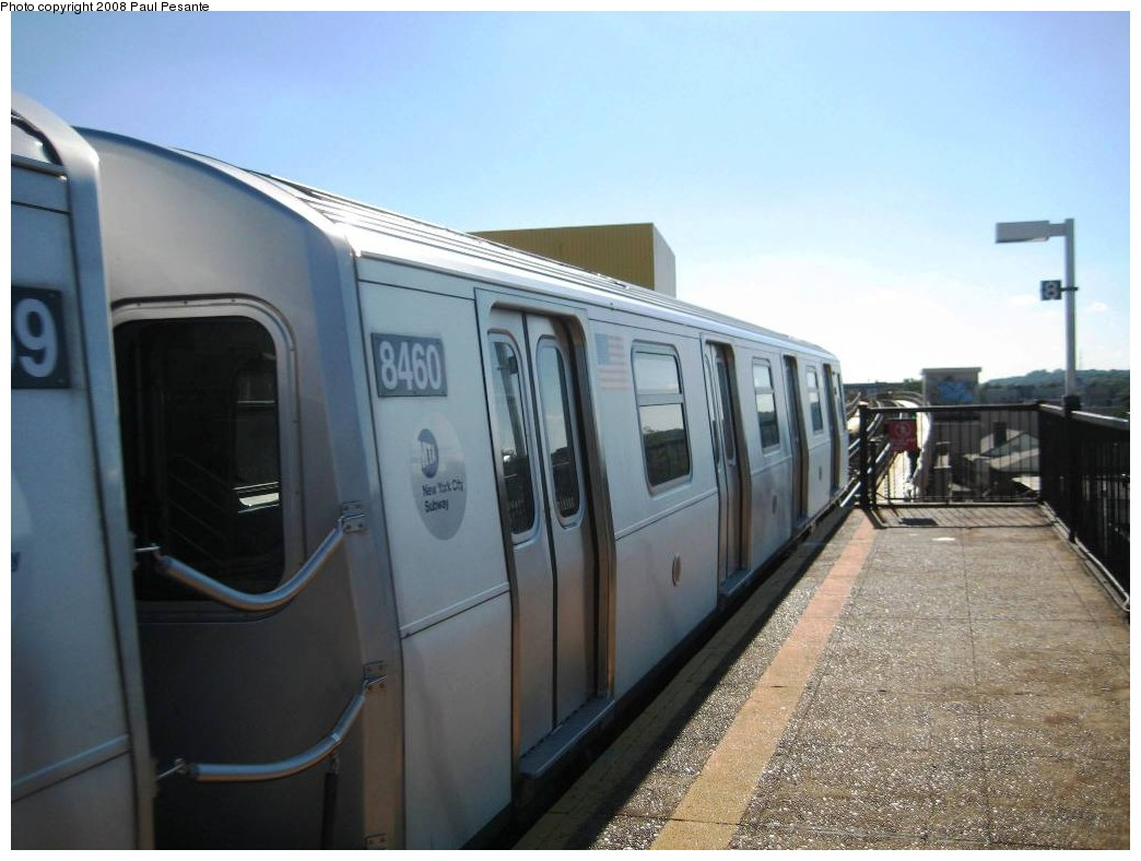 (166k, 1044x788)<br><b>Country:</b> United States<br><b>City:</b> New York<br><b>System:</b> New York City Transit<br><b>Line:</b> BMT Nassau Street/Jamaica Line<br><b>Location:</b> 121st Street <br><b>Route:</b> J<br><b>Car:</b> R-160A-1 (Alstom, 2005-2008, 4 car sets)  8460 <br><b>Photo by:</b> Paul Pesante<br><b>Date:</b> 9/7/2008<br><b>Viewed (this week/total):</b> 2 / 913