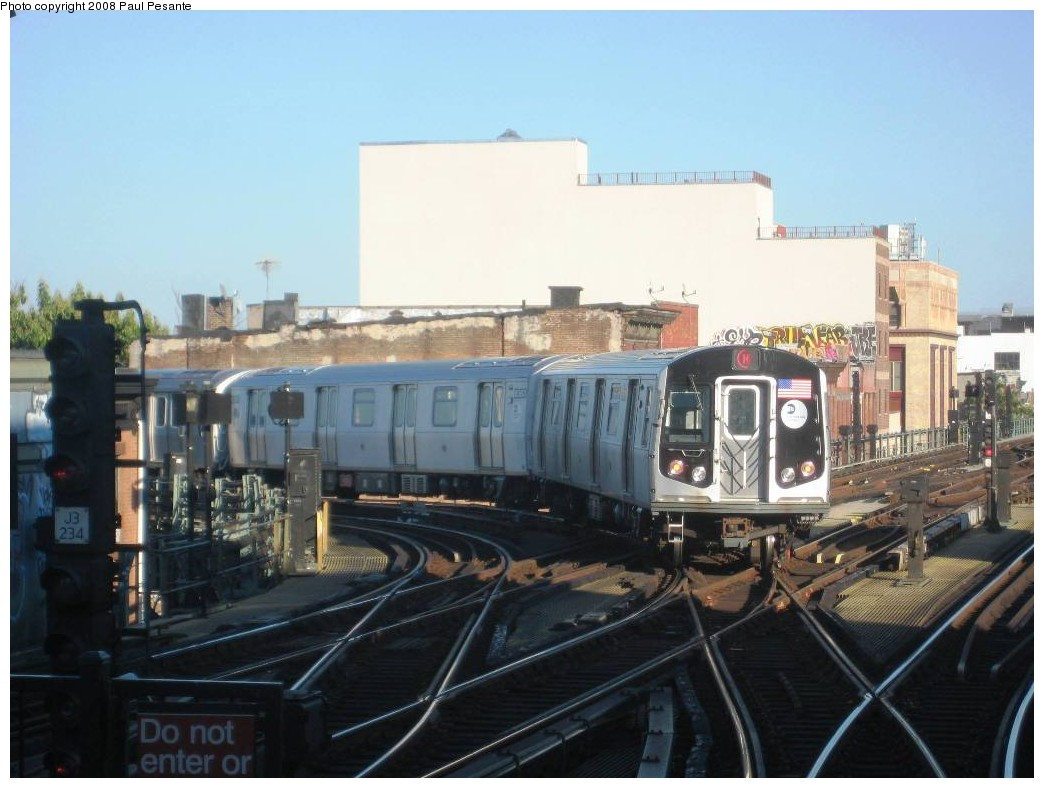 (172k, 1044x788)<br><b>Country:</b> United States<br><b>City:</b> New York<br><b>System:</b> New York City Transit<br><b>Line:</b> BMT Nassau Street/Jamaica Line<br><b>Location:</b> Myrtle Avenue <br><b>Route:</b> M<br><b>Car:</b> R-160A-1 (Alstom, 2005-2008, 4 car sets)  8364/63/62/61 <br><b>Photo by:</b> Paul Pesante<br><b>Date:</b> 9/7/2008<br><b>Viewed (this week/total):</b> 1 / 2353