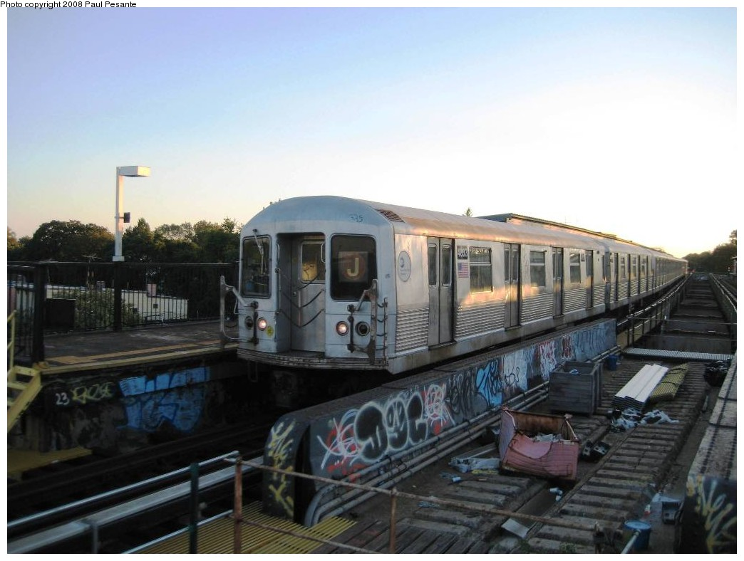 (165k, 1044x788)<br><b>Country:</b> United States<br><b>City:</b> New York<br><b>System:</b> New York City Transit<br><b>Line:</b> BMT Nassau Street/Jamaica Line<br><b>Location:</b> 85th Street/Forest Parkway <br><b>Route:</b> J<br><b>Car:</b> R-42 (St. Louis, 1969-1970)  4833 <br><b>Photo by:</b> Paul Pesante<br><b>Date:</b> 9/7/2008<br><b>Viewed (this week/total):</b> 5 / 1927