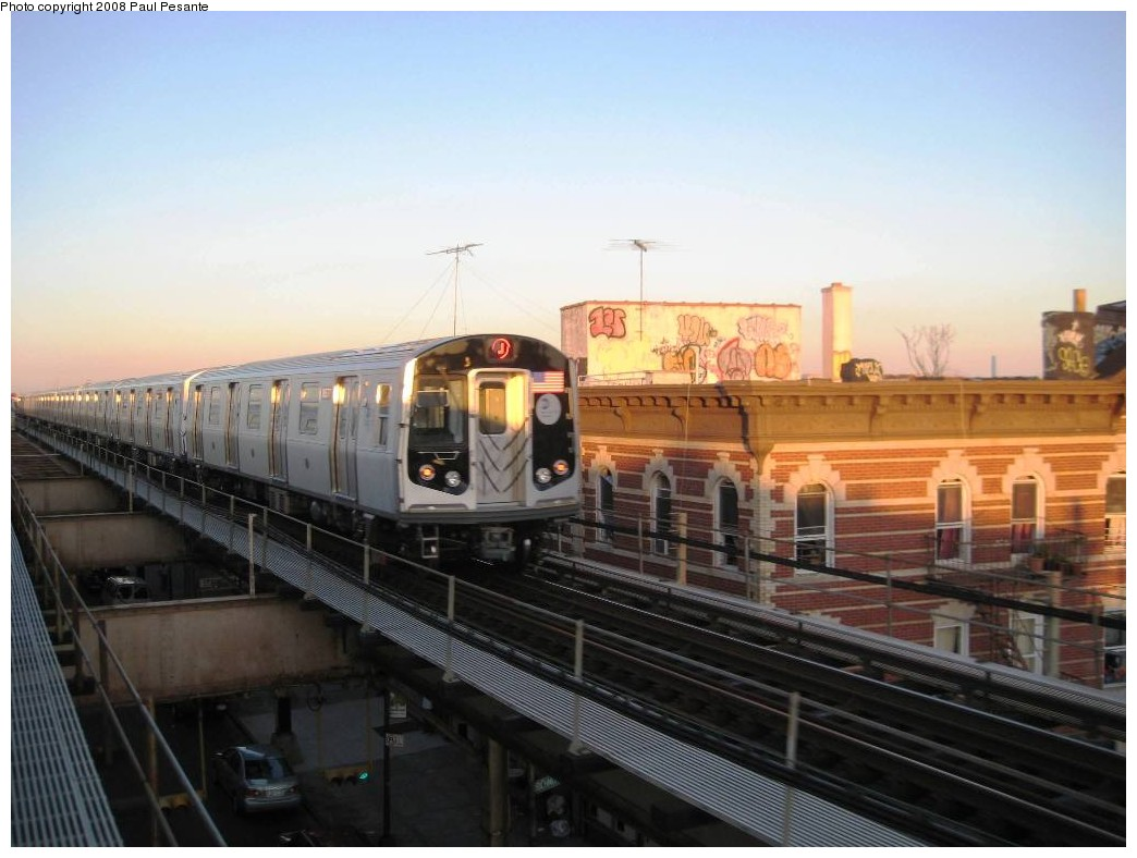(165k, 1044x788)<br><b>Country:</b> United States<br><b>City:</b> New York<br><b>System:</b> New York City Transit<br><b>Line:</b> BMT Nassau Street/Jamaica Line<br><b>Location:</b> Norwood Avenue <br><b>Route:</b> J<br><b>Car:</b> R-160A-1 (Alstom, 2005-2008, 4 car sets)   <br><b>Photo by:</b> Paul Pesante<br><b>Date:</b> 9/7/2008<br><b>Viewed (this week/total):</b> 0 / 1249
