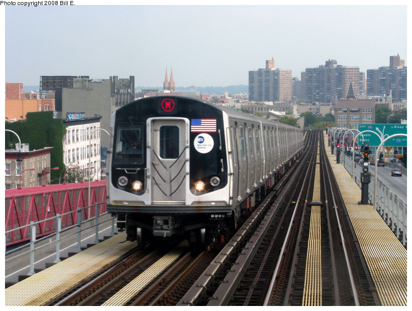 (204k, 820x620)<br><b>Country:</b> United States<br><b>City:</b> New York<br><b>System:</b> New York City Transit<br><b>Line:</b> BMT Nassau Street/Jamaica Line<br><b>Location:</b> Williamsburg Bridge<br><b>Route:</b> M<br><b>Car:</b> R-160A-1 (Alstom, 2005-2008, 4 car sets)   <br><b>Photo by:</b> Bill E.<br><b>Date:</b> 8/25/2008<br><b>Viewed (this week/total):</b> 0 / 2087