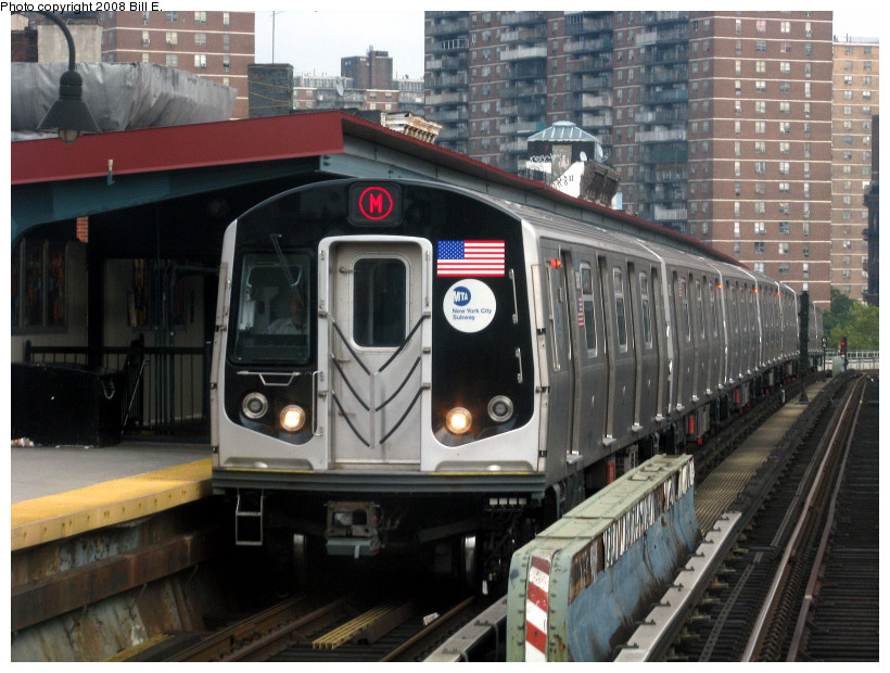 (194k, 820x620)<br><b>Country:</b> United States<br><b>City:</b> New York<br><b>System:</b> New York City Transit<br><b>Line:</b> BMT Nassau Street/Jamaica Line<br><b>Location:</b> Hewes Street <br><b>Route:</b> M<br><b>Car:</b> R-160A-1 (Alstom, 2005-2008, 4 car sets)   <br><b>Photo by:</b> Bill E.<br><b>Date:</b> 8/25/2008<br><b>Viewed (this week/total):</b> 1 / 1611