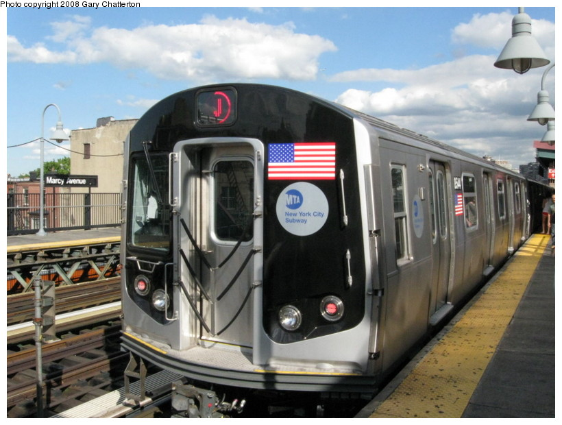(138k, 820x620)<br><b>Country:</b> United States<br><b>City:</b> New York<br><b>System:</b> New York City Transit<br><b>Line:</b> BMT Nassau Street/Jamaica Line<br><b>Location:</b> Marcy Avenue <br><b>Route:</b> J<br><b>Car:</b> R-160A-1 (Alstom, 2005-2008, 4 car sets)  8544 <br><b>Photo by:</b> Gary Chatterton<br><b>Date:</b> 9/10/2008<br><b>Viewed (this week/total):</b> 1 / 868