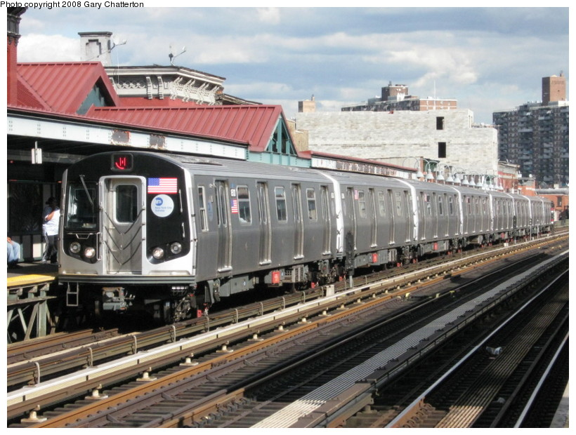 (162k, 820x620)<br><b>Country:</b> United States<br><b>City:</b> New York<br><b>System:</b> New York City Transit<br><b>Line:</b> BMT Nassau Street/Jamaica Line<br><b>Location:</b> Marcy Avenue <br><b>Route:</b> J<br><b>Car:</b> R-160A-1 (Alstom, 2005-2008, 4 car sets)  8513 <br><b>Photo by:</b> Gary Chatterton<br><b>Date:</b> 9/10/2008<br><b>Viewed (this week/total):</b> 0 / 1304