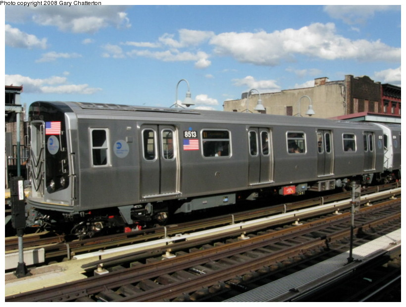 (127k, 820x620)<br><b>Country:</b> United States<br><b>City:</b> New York<br><b>System:</b> New York City Transit<br><b>Line:</b> BMT Nassau Street/Jamaica Line<br><b>Location:</b> Marcy Avenue <br><b>Route:</b> J<br><b>Car:</b> R-160A-1 (Alstom, 2005-2008, 4 car sets)  8513 <br><b>Photo by:</b> Gary Chatterton<br><b>Date:</b> 9/10/2008<br><b>Viewed (this week/total):</b> 2 / 912