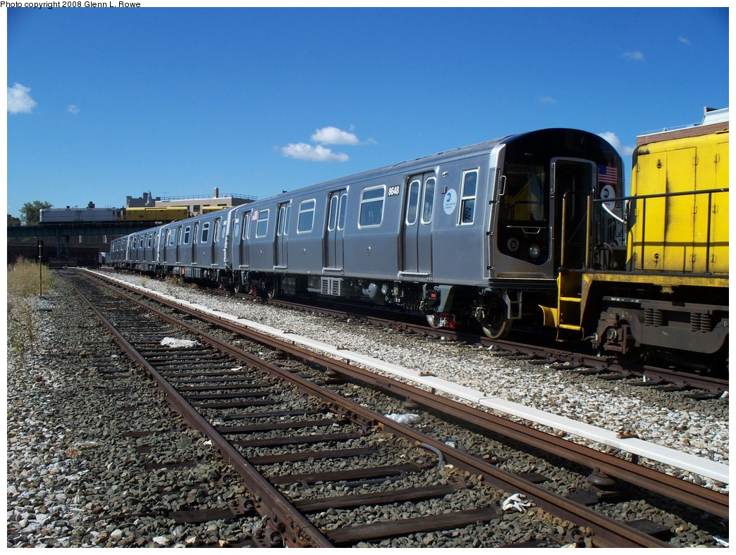 (284k, 1044x788)<br><b>Country:</b> United States<br><b>City:</b> New York<br><b>System:</b> New York City Transit<br><b>Location:</b> 207th Street Yard<br><b>Car:</b> R-160A-1 (Alstom, 2005-2008, 4 car sets)  8648 <br><b>Photo by:</b> Glenn L. Rowe<br><b>Date:</b> 9/10/2008<br><b>Viewed (this week/total):</b> 0 / 2091