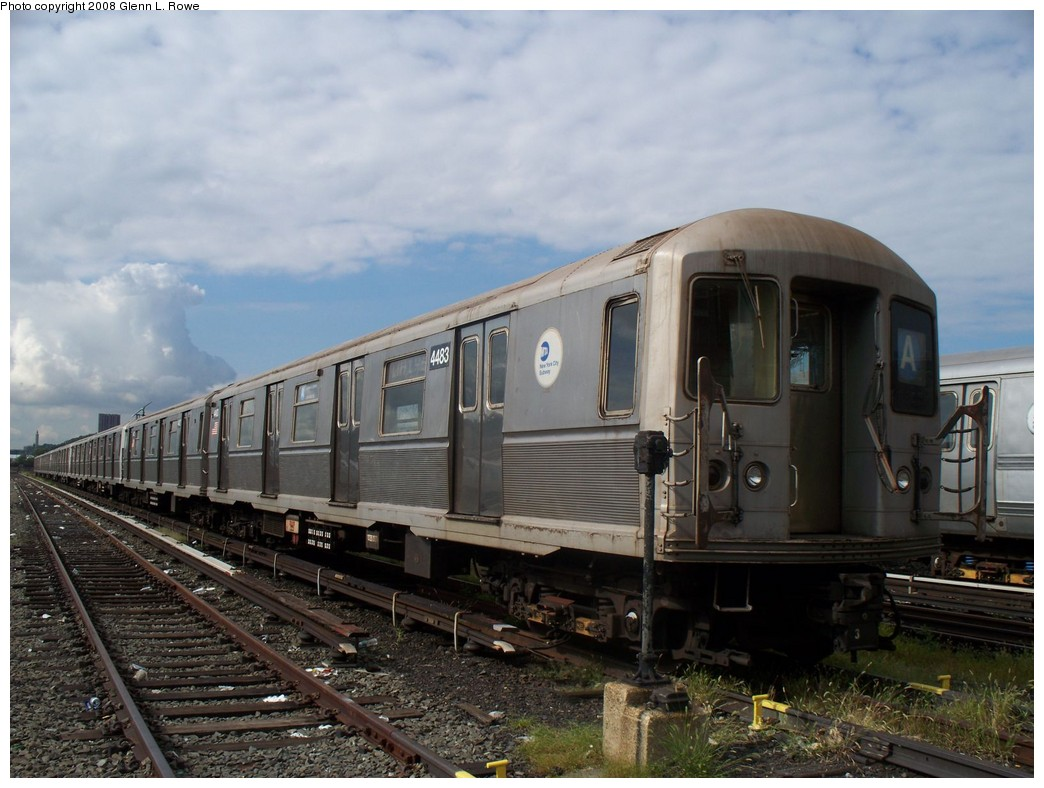 (202k, 1044x788)<br><b>Country:</b> United States<br><b>City:</b> New York<br><b>System:</b> New York City Transit<br><b>Location:</b> 207th Street Yard<br><b>Car:</b> R-40M (St. Louis, 1969)  4483 <br><b>Photo by:</b> Glenn L. Rowe<br><b>Date:</b> 9/11/2008<br><b>Viewed (this week/total):</b> 0 / 994