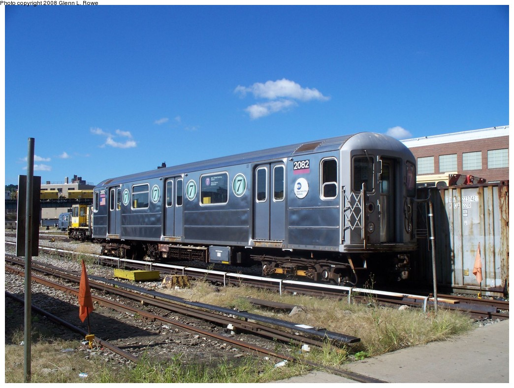 (239k, 1044x788)<br><b>Country:</b> United States<br><b>City:</b> New York<br><b>System:</b> New York City Transit<br><b>Location:</b> 207th Street Yard<br><b>Car:</b> R-62A (Bombardier, 1984-1987)  2082 <br><b>Photo by:</b> Glenn L. Rowe<br><b>Date:</b> 9/10/2008<br><b>Viewed (this week/total):</b> 2 / 1388