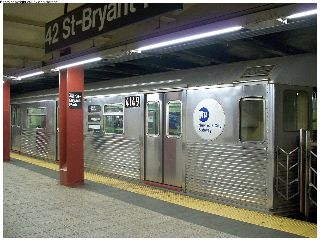 (256k, 1044x788)<br><b>Country:</b> United States<br><b>City:</b> New York<br><b>System:</b> New York City Transit<br><b>Line:</b> IND 6th Avenue Line<br><b>Location:</b> 42nd Street/Bryant Park <br><b>Route:</b> Work Service<br><b>Car:</b> R-38 (St. Louis, 1966-1967)  4149 <br><b>Photo by:</b> John Barnes<br><b>Date:</b> 7/4/2008<br><b>Viewed (this week/total):</b> 2 / 1826