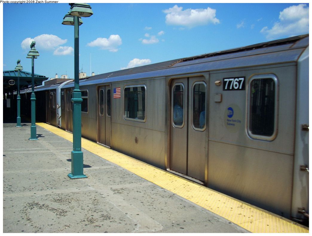 (236k, 1044x788)<br><b>Country:</b> United States<br><b>City:</b> New York<br><b>System:</b> New York City Transit<br><b>Line:</b> IRT Woodlawn Line<br><b>Location:</b> 161st Street/River Avenue (Yankee Stadium) <br><b>Route:</b> 4<br><b>Car:</b> R-142A (Supplemental Order, Kawasaki, 2003-2004)  7767 <br><b>Photo by:</b> Zach Summer<br><b>Date:</b> 7/25/2008<br><b>Viewed (this week/total):</b> 3 / 1236