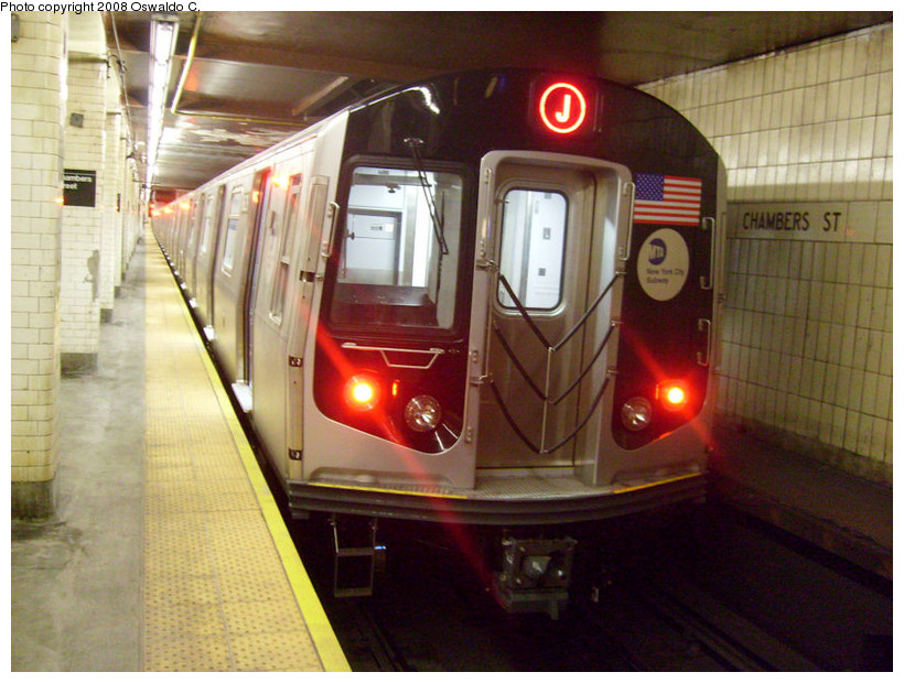 (184k, 820x620)<br><b>Country:</b> United States<br><b>City:</b> New York<br><b>System:</b> New York City Transit<br><b>Line:</b> BMT Nassau Street/Jamaica Line<br><b>Location:</b> Chambers Street <br><b>Route:</b> J<br><b>Car:</b> R-160A-1 (Alstom, 2005-2008, 4 car sets)   <br><b>Photo by:</b> Oswaldo C.<br><b>Date:</b> 9/19/2008<br><b>Viewed (this week/total):</b> 1 / 2184
