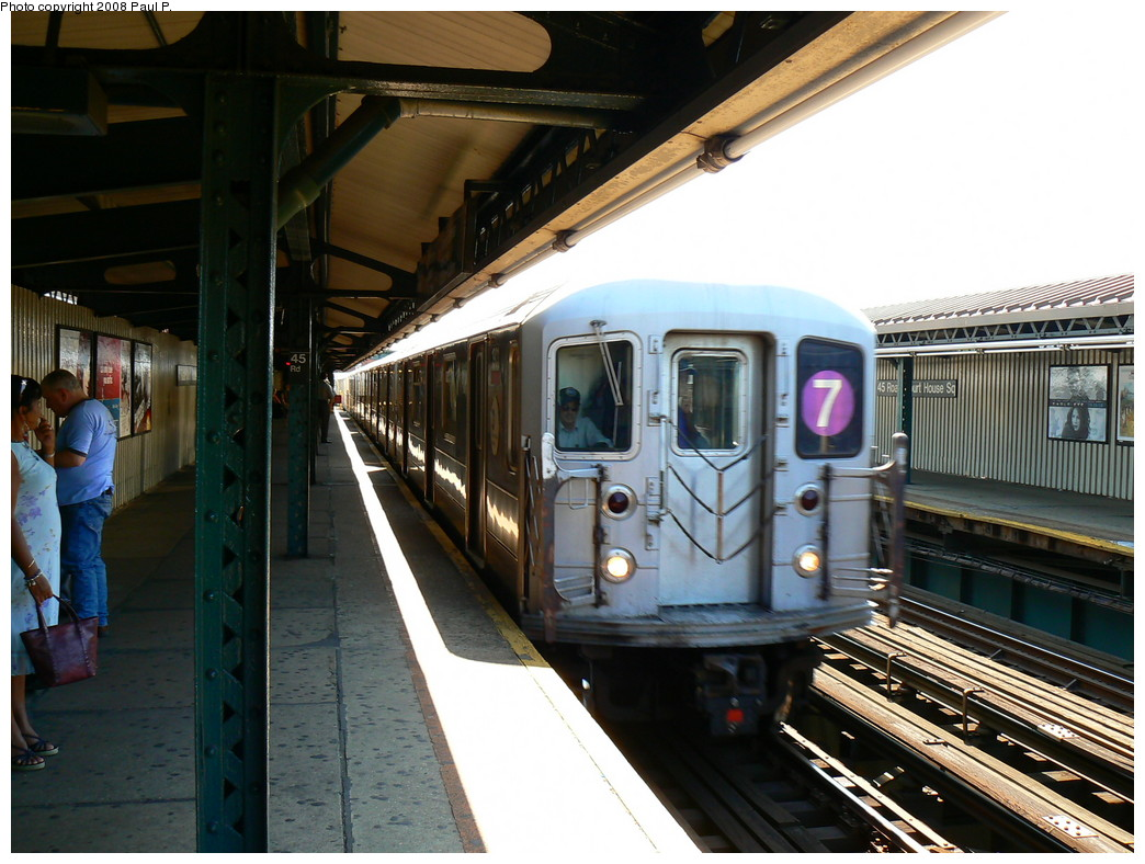 (244k, 1044x788)<br><b>Country:</b> United States<br><b>City:</b> New York<br><b>System:</b> New York City Transit<br><b>Line:</b> IRT Flushing Line<br><b>Location:</b> Court House Square/45th Road <br><b>Route:</b> 7<br><b>Car:</b> R-62A (Bombardier, 1984-1987)   <br><b>Photo by:</b> Paul P.<br><b>Date:</b> 8/26/2008<br><b>Viewed (this week/total):</b> 1 / 879