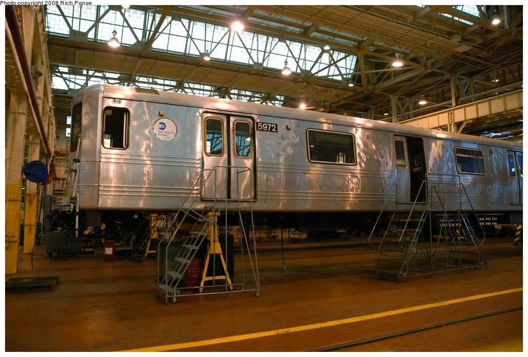(214k, 1044x706)<br><b>Country:</b> United States<br><b>City:</b> New York<br><b>System:</b> New York City Transit<br><b>Location:</b> Coney Island Shop/Overhaul & Repair Shop<br><b>Car:</b> R-46 (Pullman-Standard, 1974-75) 5972 <br><b>Photo by:</b> Richard Panse<br><b>Date:</b> 9/13/2008<br><b>Viewed (this week/total):</b> 2 / 901