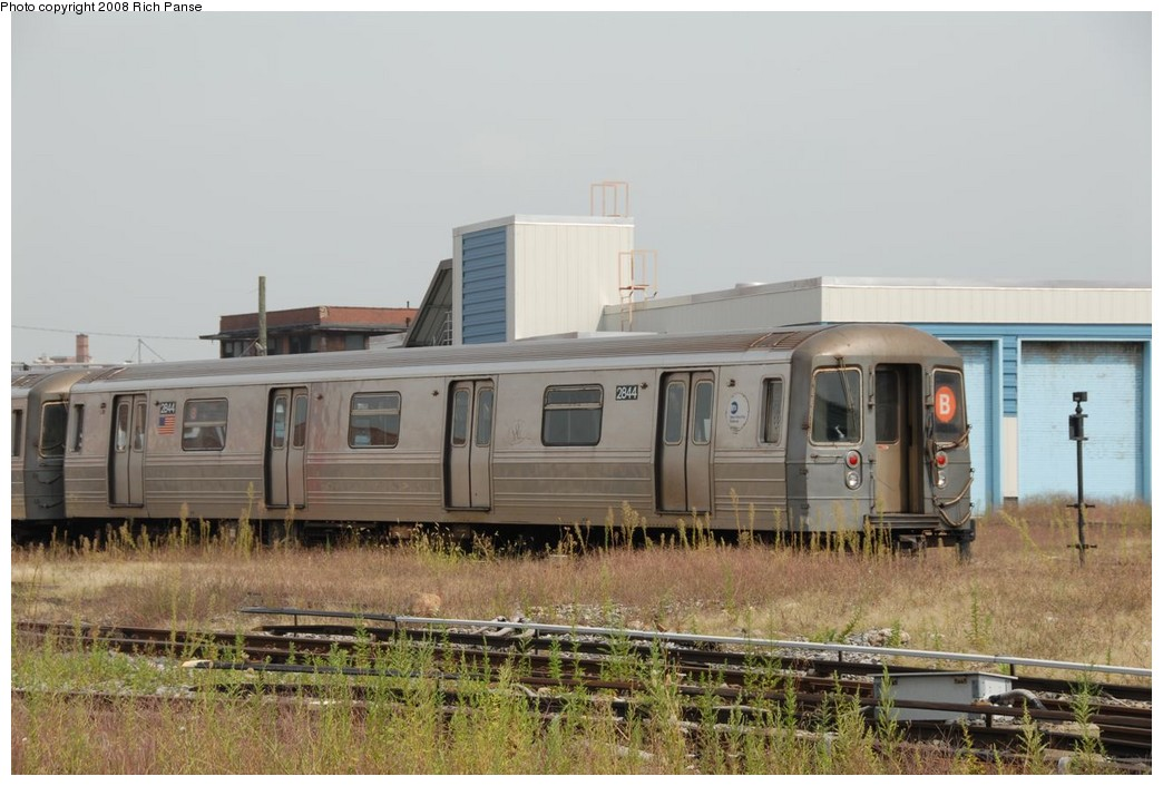 (197k, 1044x706)<br><b>Country:</b> United States<br><b>City:</b> New York<br><b>System:</b> New York City Transit<br><b>Location:</b> Coney Island Yard<br><b>Car:</b> R-68 (Westinghouse-Amrail, 1986-1988)  2844 <br><b>Photo by:</b> Richard Panse<br><b>Date:</b> 9/13/2008<br><b>Viewed (this week/total):</b> 3 / 1508