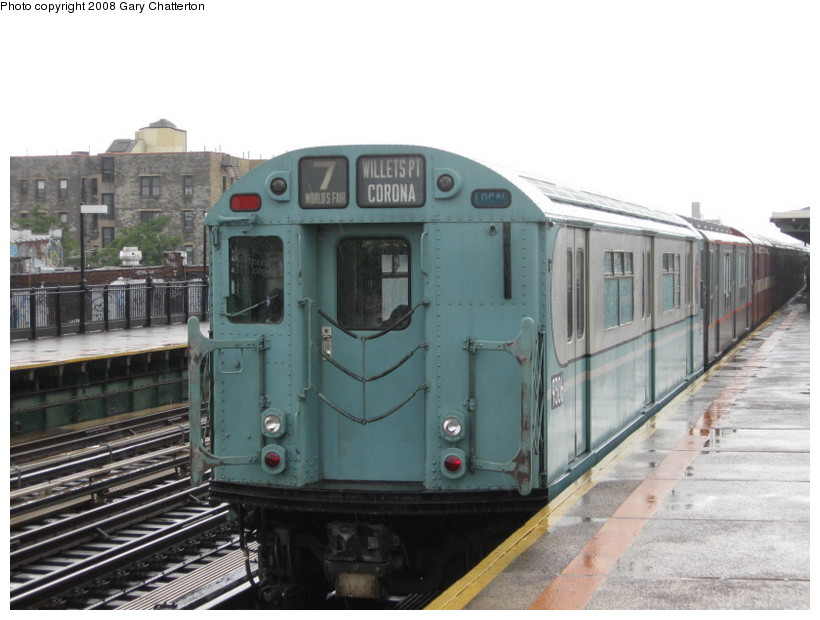 (117k, 820x620)<br><b>Country:</b> United States<br><b>City:</b> New York<br><b>System:</b> New York City Transit<br><b>Line:</b> IRT Flushing Line<br><b>Location:</b> 82nd Street/Jackson Heights <br><b>Route:</b> Museum Train Service (7)<br><b>Car:</b> R-33 World's Fair (St. Louis, 1963-64) 9306 <br><b>Photo by:</b> Gary Chatterton<br><b>Date:</b> 9/28/2008<br><b>Notes:</b> Shea Stadium closing day special<br><b>Viewed (this week/total):</b> 1 / 802