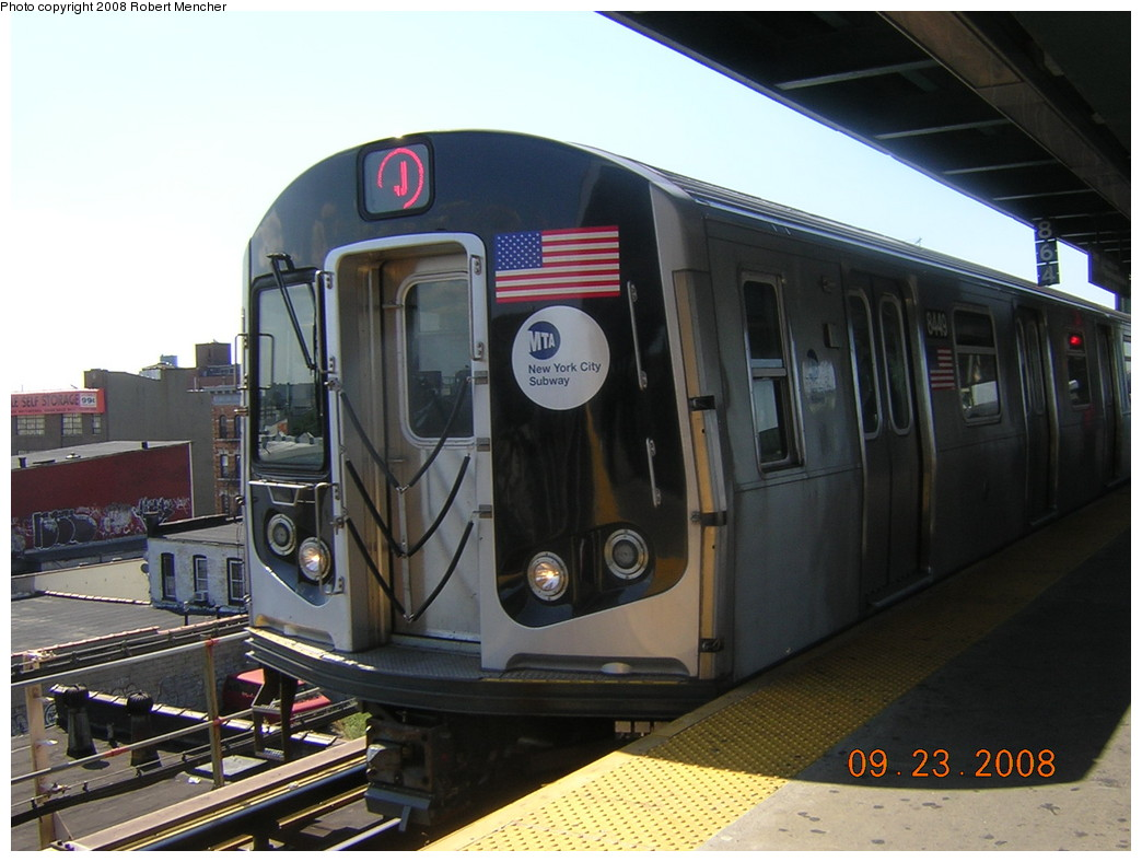 (221k, 1044x788)<br><b>Country:</b> United States<br><b>City:</b> New York<br><b>System:</b> New York City Transit<br><b>Line:</b> BMT Nassau Street/Jamaica Line<br><b>Location:</b> Alabama Avenue <br><b>Route:</b> J<br><b>Car:</b> R-160A-1 (Alstom, 2005-2008, 4 car sets)  8449 <br><b>Photo by:</b> Robert Mencher<br><b>Date:</b> 9/23/2008<br><b>Viewed (this week/total):</b> 0 / 1093