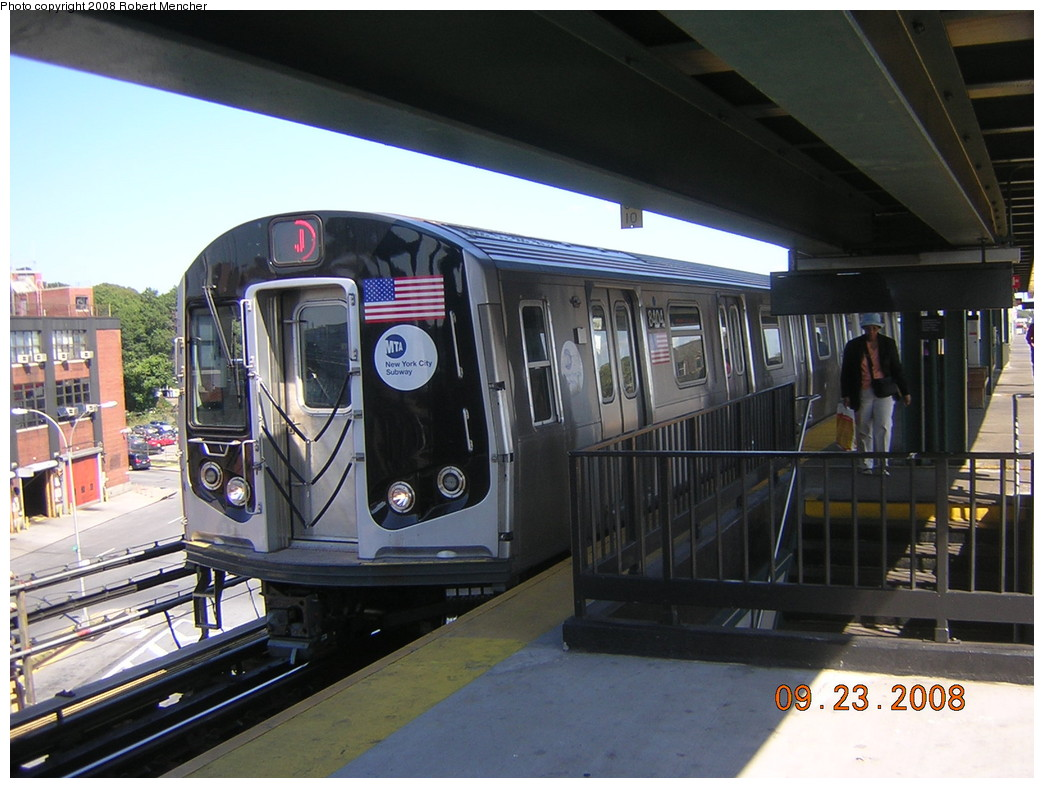 (238k, 1044x788)<br><b>Country:</b> United States<br><b>City:</b> New York<br><b>System:</b> New York City Transit<br><b>Line:</b> BMT Nassau Street/Jamaica Line<br><b>Location:</b> Alabama Avenue <br><b>Route:</b> J<br><b>Car:</b> R-160A-1 (Alstom, 2005-2008, 4 car sets)  8404 <br><b>Photo by:</b> Robert Mencher<br><b>Date:</b> 9/23/2008<br><b>Viewed (this week/total):</b> 3 / 1813