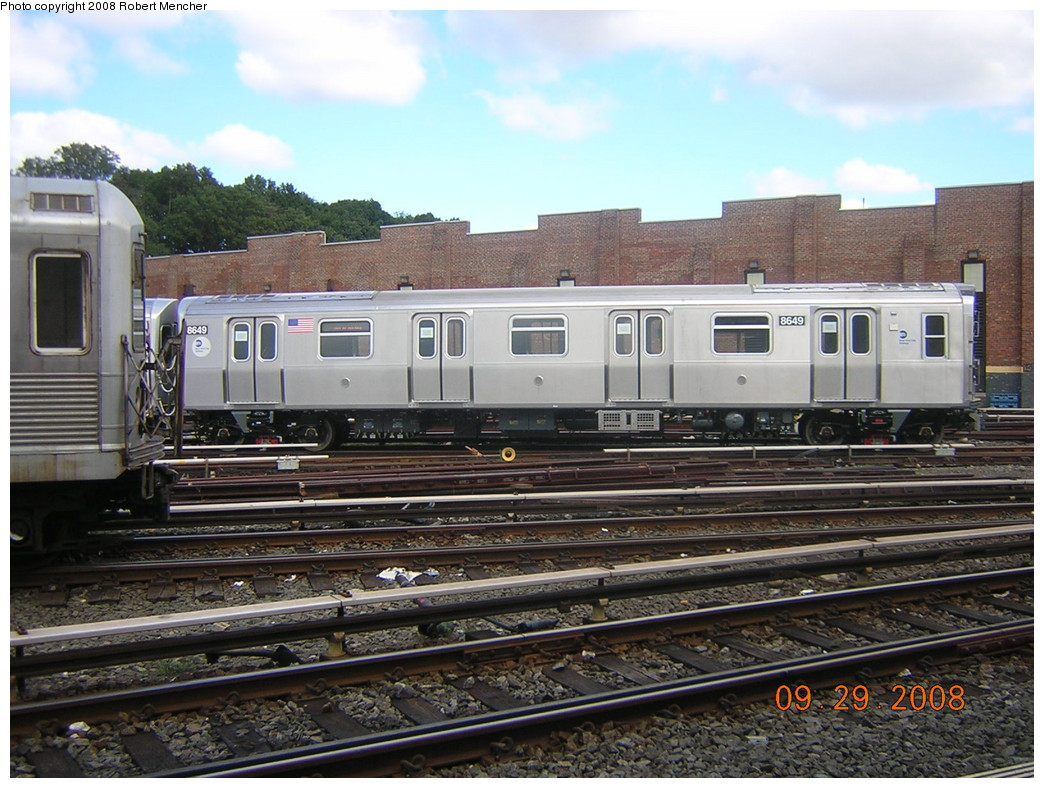 (269k, 1044x788)<br><b>Country:</b> United States<br><b>City:</b> New York<br><b>System:</b> New York City Transit<br><b>Location:</b> East New York Yard/Shops<br><b>Car:</b> R-160A-1 (Alstom, 2005-2008, 4 car sets)  8649 <br><b>Photo by:</b> Robert Mencher<br><b>Date:</b> 9/29/2008<br><b>Viewed (this week/total):</b> 2 / 692