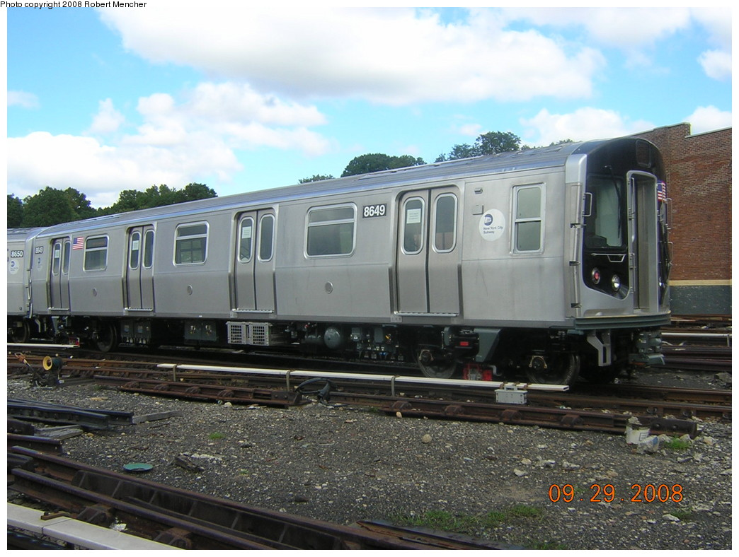 (253k, 1044x788)<br><b>Country:</b> United States<br><b>City:</b> New York<br><b>System:</b> New York City Transit<br><b>Location:</b> East New York Yard/Shops<br><b>Car:</b> R-160A-1 (Alstom, 2005-2008, 4 car sets)  8649 <br><b>Photo by:</b> Robert Mencher<br><b>Date:</b> 9/29/2008<br><b>Viewed (this week/total):</b> 1 / 861