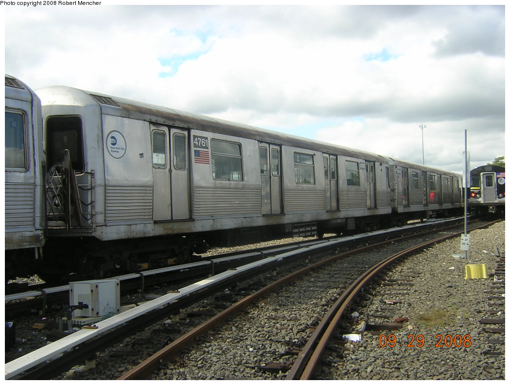 (244k, 1044x788)<br><b>Country:</b> United States<br><b>City:</b> New York<br><b>System:</b> New York City Transit<br><b>Location:</b> East New York Yard/Shops<br><b>Car:</b> R-42 (St. Louis, 1969-1970)  4761 <br><b>Photo by:</b> Robert Mencher<br><b>Date:</b> 9/29/2008<br><b>Viewed (this week/total):</b> 3 / 777