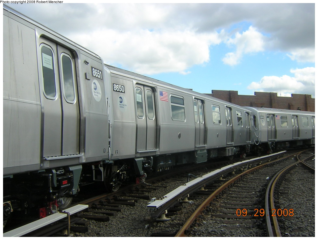 (226k, 1044x788)<br><b>Country:</b> United States<br><b>City:</b> New York<br><b>System:</b> New York City Transit<br><b>Location:</b> East New York Yard/Shops<br><b>Car:</b> R-160A-1 (Alstom, 2005-2008, 4 car sets)  8650 <br><b>Photo by:</b> Robert Mencher<br><b>Date:</b> 9/29/2008<br><b>Viewed (this week/total):</b> 1 / 1485
